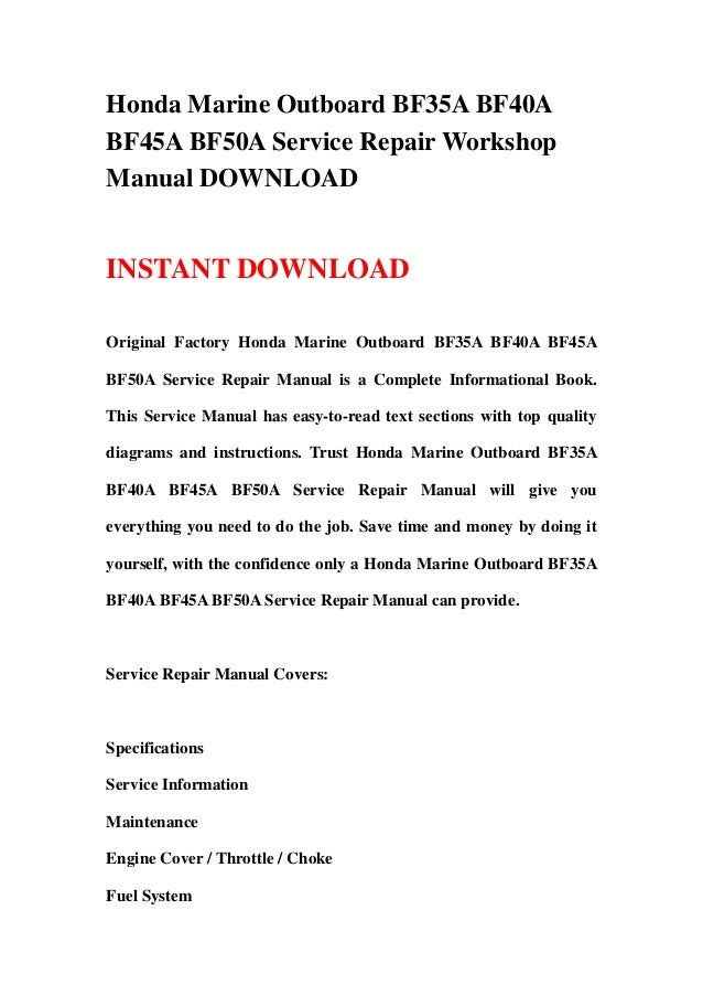 Honda Marine Outboard Bf35a Bf40abf45a Bf50a Service Repair Workshopmanual Downloadinstant Downloadoriginal Factory: Honda Bf50a Wiring Diagram At Mazhai.net