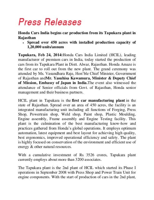press release honda starts production  tapukara plant  rajasth
