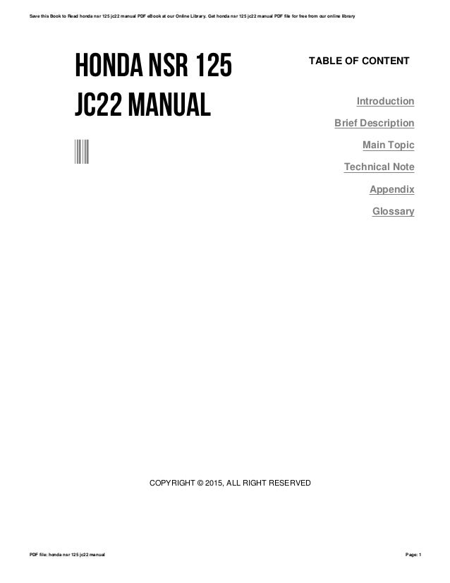 Honda nsr 125 jc22 manual