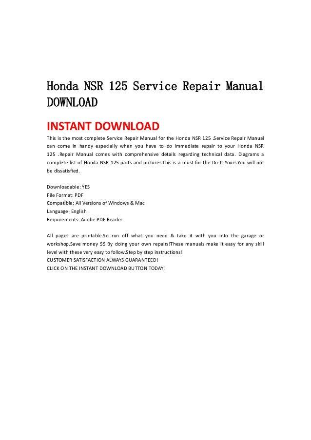 honda nsr 125 service repair manual download rh slideshare net Honda 90 Cc Motorcycles Honda Motorcycles 125Cc