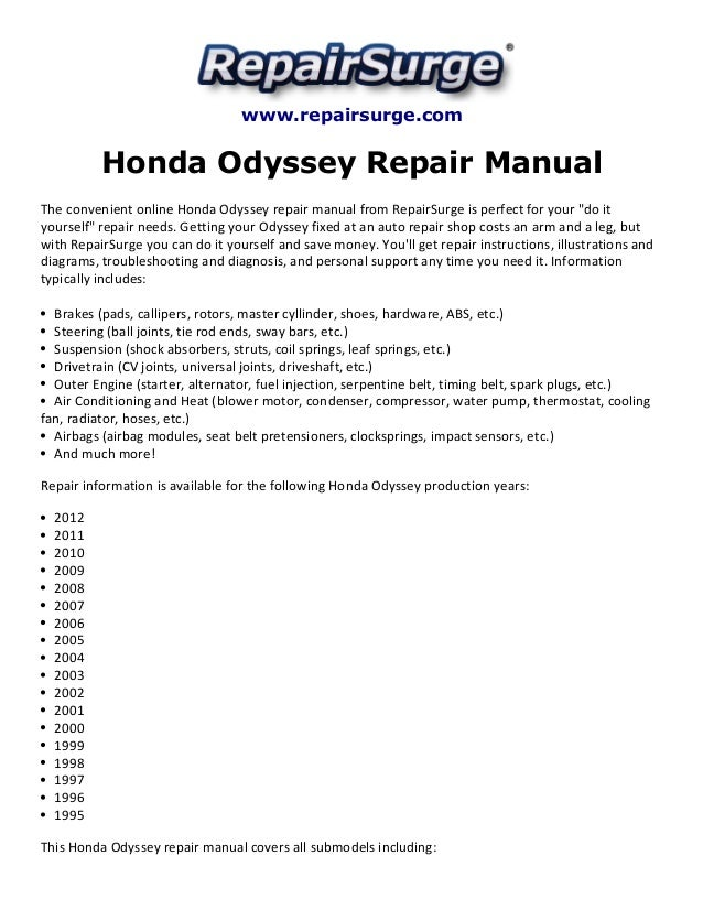 honda odyssey repair manual 1995 2012 rh slideshare net honda odyssey 2010 service manual maintenance 2011 honda odyssey factory service manual