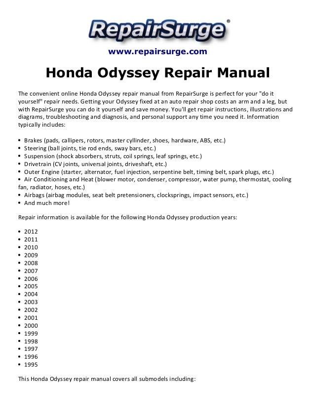 honda odyssey 1999 manual