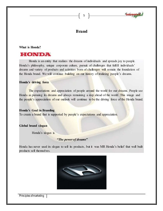 5 Principles Of Marketing Brand What Is Honda