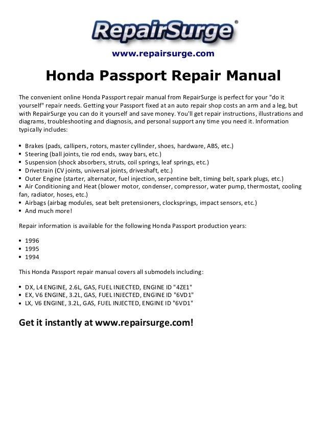 Honda Passport Repair Manual 1994 1996