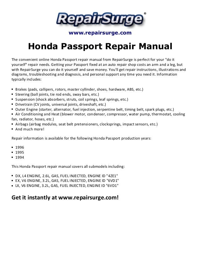 [QNCB_7524]  Honda passport repair manual 1994 1996 | 1997 Honda Passport Engine Diagram |  | SlideShare