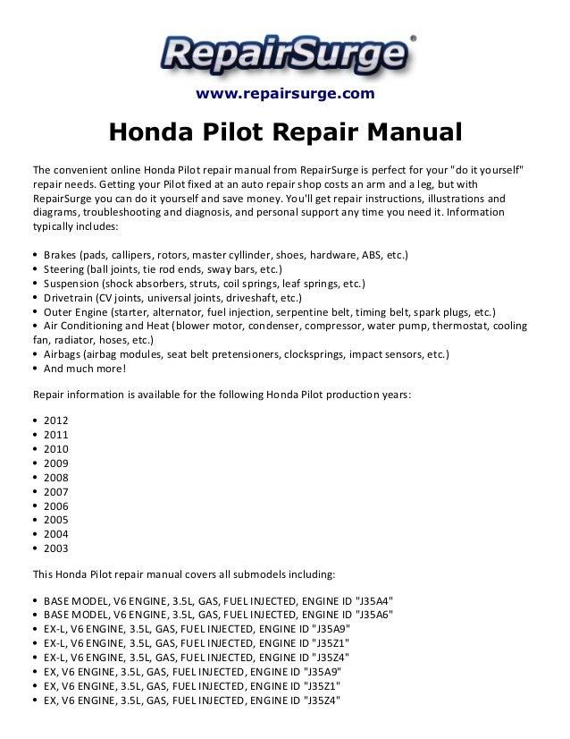 honda pilot repair manual 2003 2012 rh slideshare net 2011 honda pilot repair manual pdf 2012 honda pilot repair manual