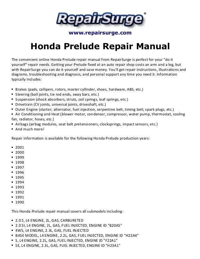 honda prelude repair manual 1990 2001 rh slideshare net 90 Honda Prelude 1992 honda prelude repair manual free download