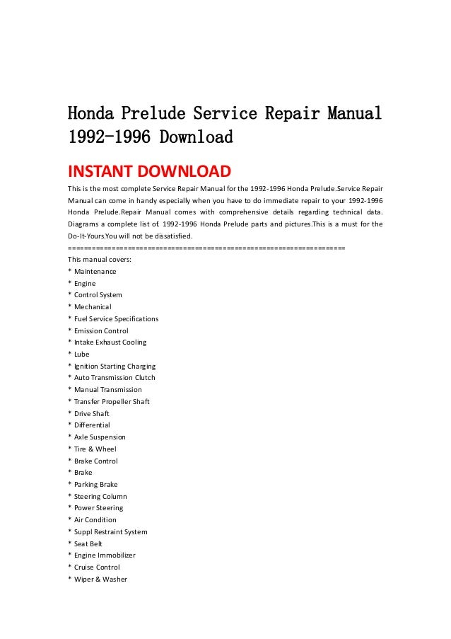 honda prelude service repair manual 1992 1996 download rh slideshare net 1996 Honda Accord 1999 Honda Prelude