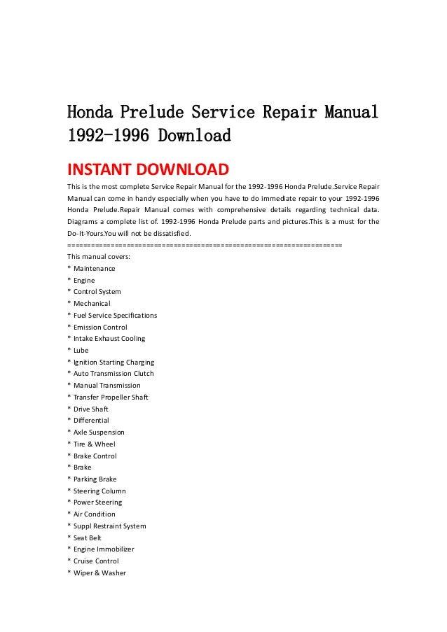 honda prelude service repair manual 1992 1996 download rh slideshare net 94 Honda Prelude 90 Honda Prelude