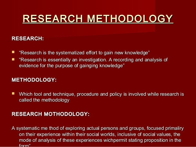 research mothodology This post provided by the team of dissertation help service research methodology is a way to find out the result of a given problem on a specific matter or problem that is also referred as research problem.