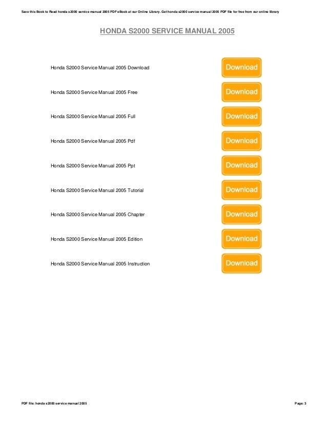 honda s2000 service manual 2005 rh slideshare net 2005 s2000 owners manual 2005 s2000 owners manual