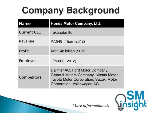 honda environmental analysis A pestel analysis of the automotive/automobile industry the global automobile industry is a multi billion industry with several large brands competing for market share.