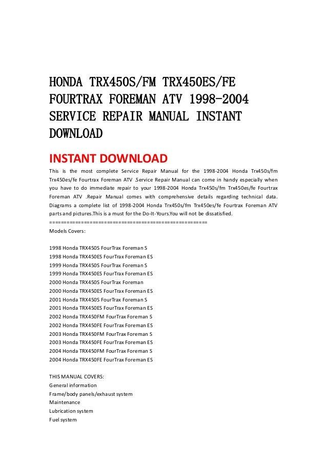 1998-2001 Honda TRX450ES Foreman ES Repair Manual Clymer ...