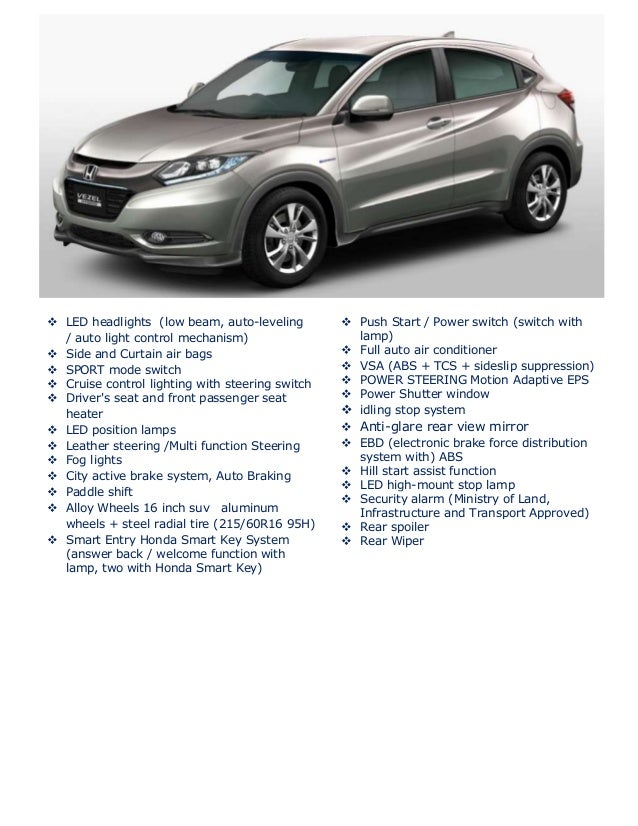Honda Vezel Specifications And Comparism