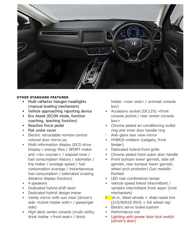 Honda Vezel Specifications And Comparism