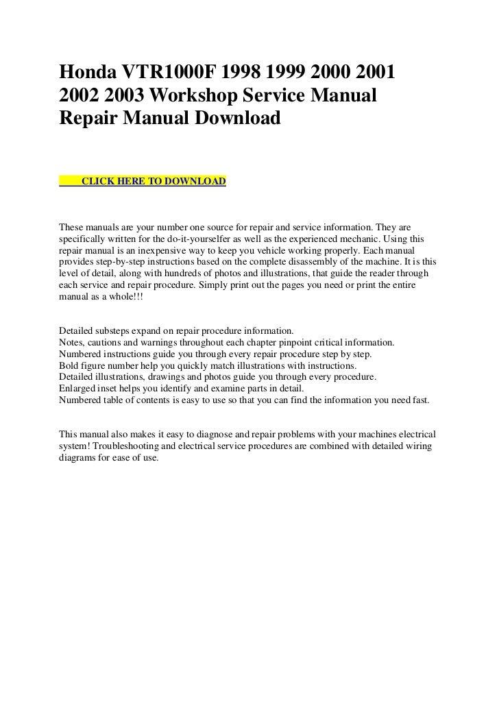 honda vtr1000 f 1998 1999 2000 2001 2002 2003 workshop service manual  repair manual download