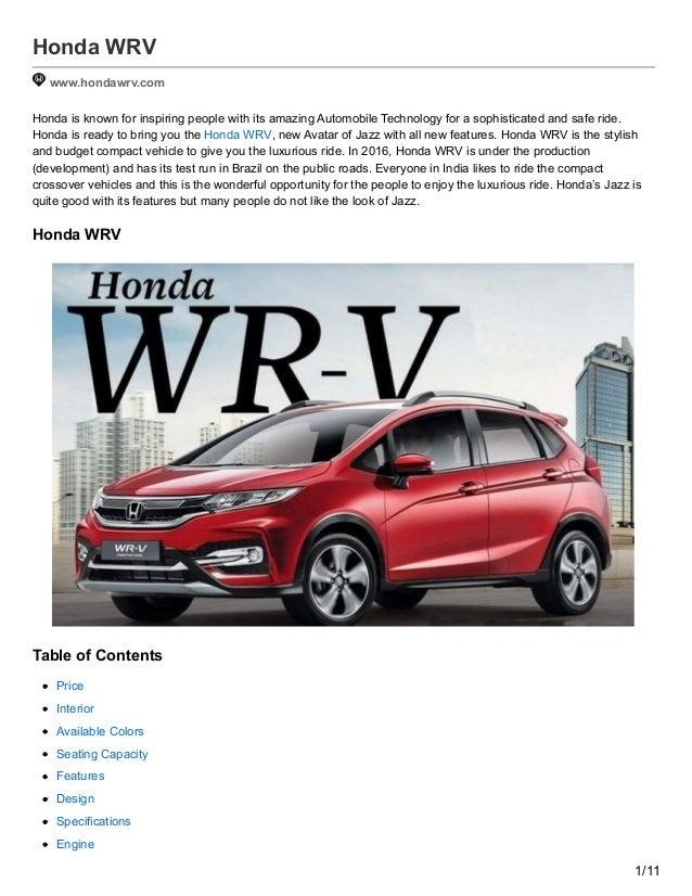 Hondawrvcom Honda Wrv