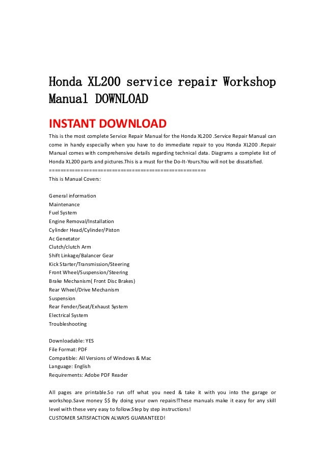 Honda Xl200 Service Repair Workshop Manual Download