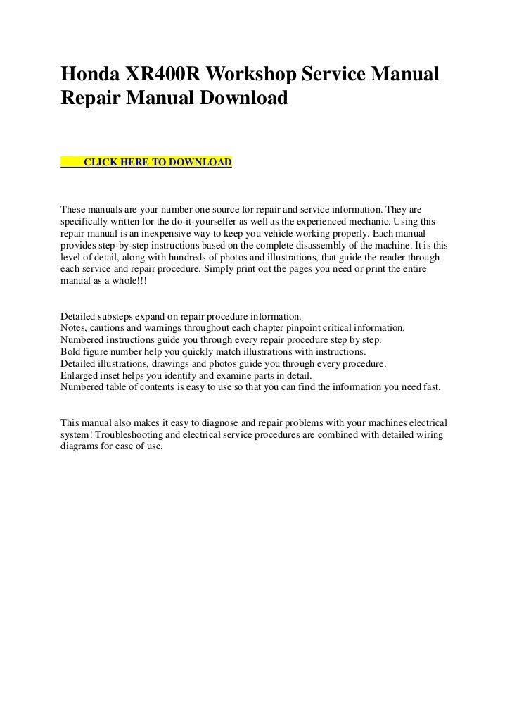 honda xr400 r workshop service manual repair manual download rh slideshare net