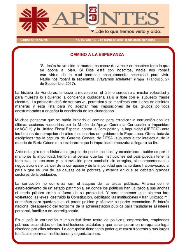 "Cáritas de Honduras No. 155 Año 16. 9 de Marzo de 2018 Tegucigalpa, Honduras CAMINO A LA ESPERANZA ""Si Jesús ha vencido al..."