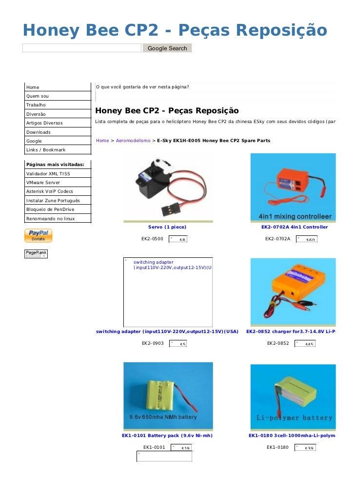 Honey Bee CP2 - Peças Reposição                                                 Google Search     Home                    ...