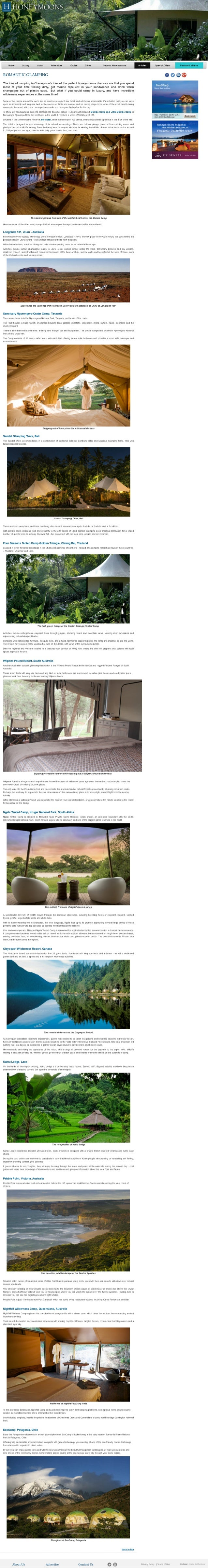 Kamu Lodge featured in  the world's most luxurious tents for honey glamping by Honeymoons, May 2014