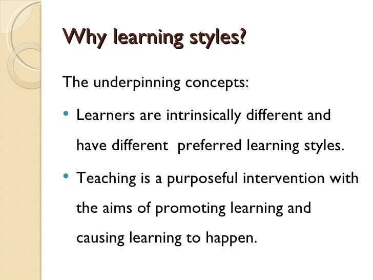 essay on different learning styles Learning styles research papers discuss the different learning styles that efficienty and effectively help students to learn - visual, auditory, tactile and kinesthetic.
