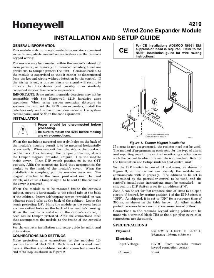 honeywell 4219 install guide
