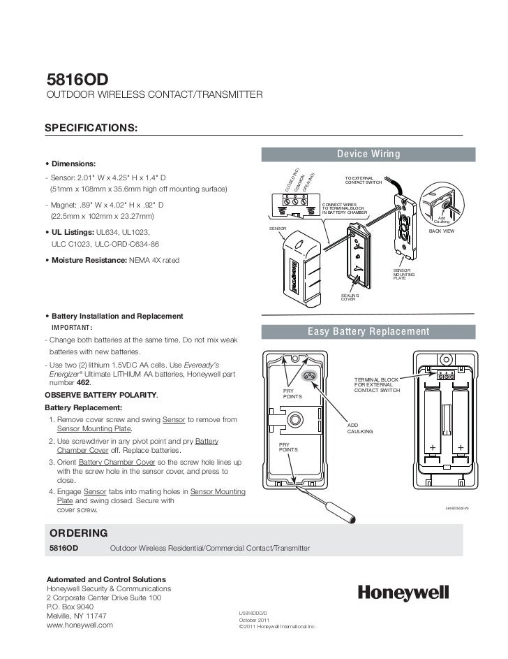 Honeywell 5816od-data-sheet