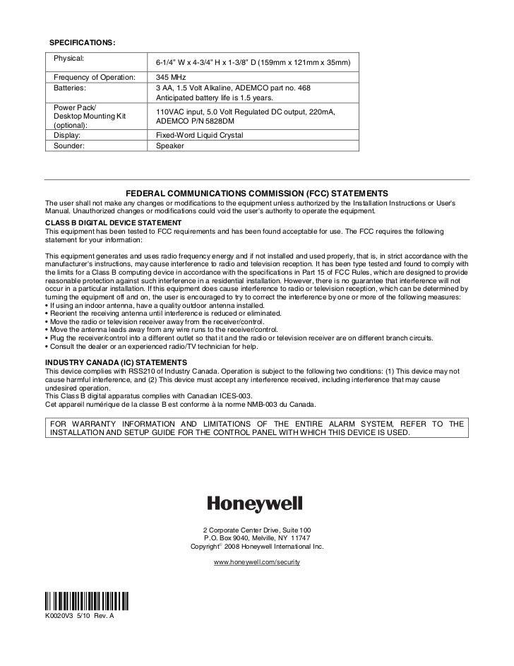 Honeywell 5828-and-honeywell-5828v-install-guide
