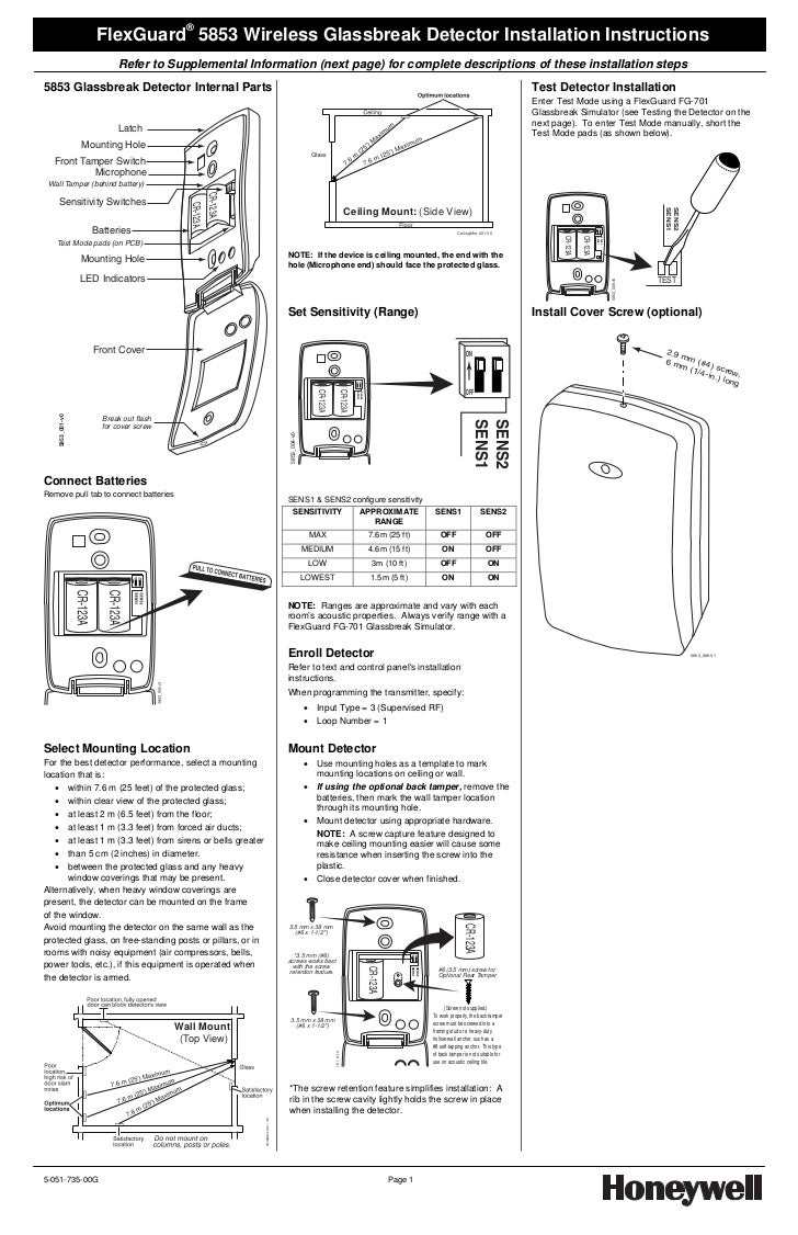 Honeywell 5853 Install Guide