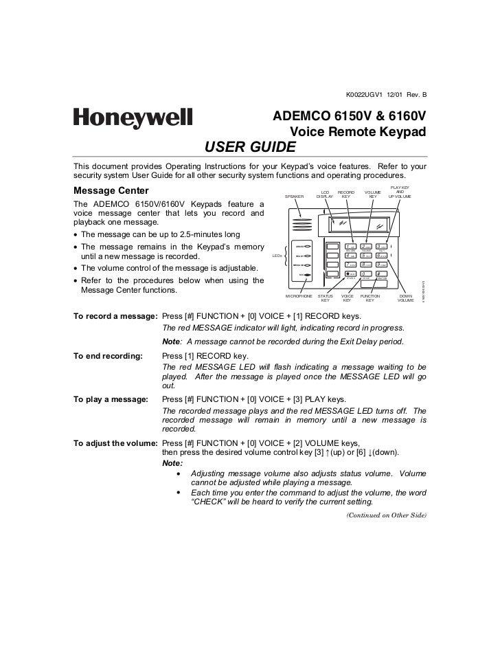 Honeywell 6150 v-honeywell-6160v-user-guide.