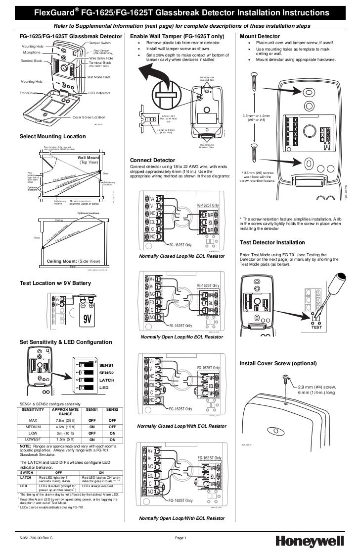 Honeywell fg1625   install      guide