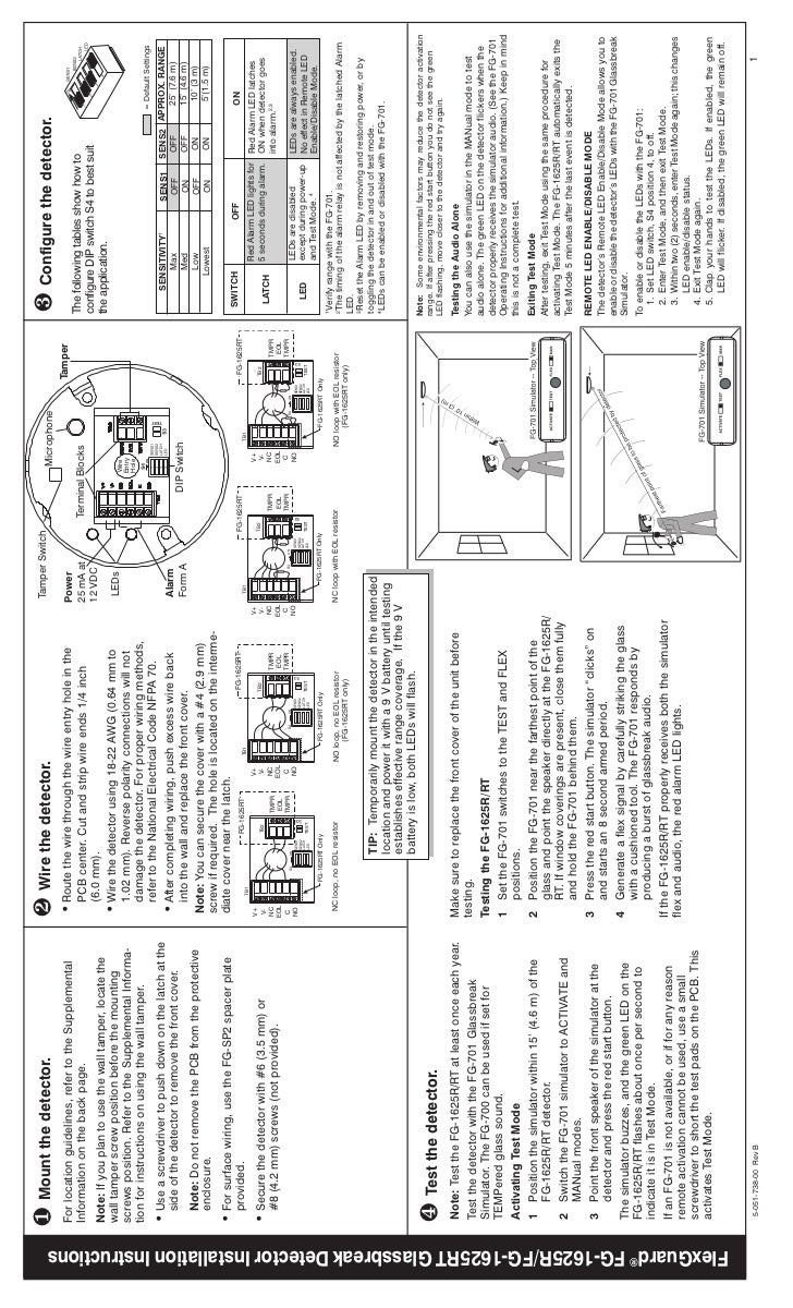 Honeywell fg1625r-install-guide