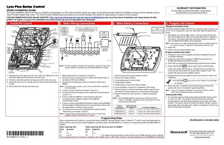 honeywell l3000 quick install guide rh slideshare net honeywell lynx plus installation manual lynx plus install manual