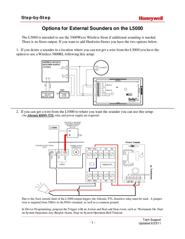 honeywell lynx touch external sounder install guide ducane wiring diagram step by step options for external sounders on the l5000 the l5000 is intended