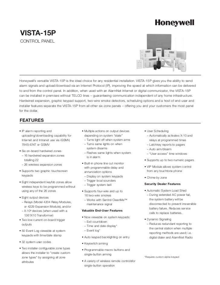 Honeywell Vista 15P Datasheet