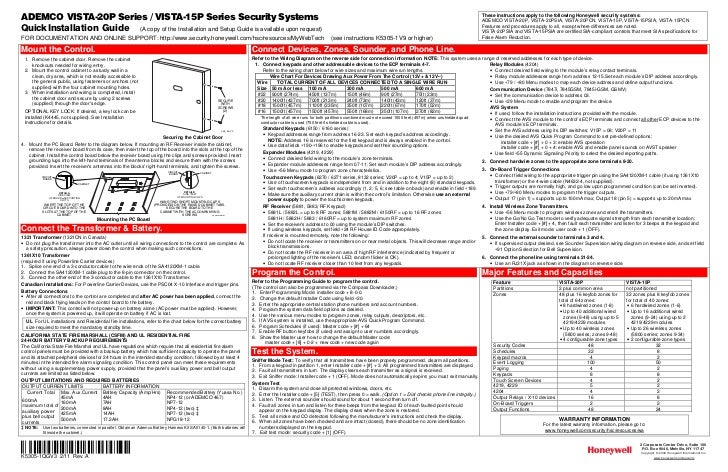 Honeywell Vista 15p And 20p Quick Install Guide. Wiring. Transformer Wiring Diagram Honeywell Security At Scoala.co