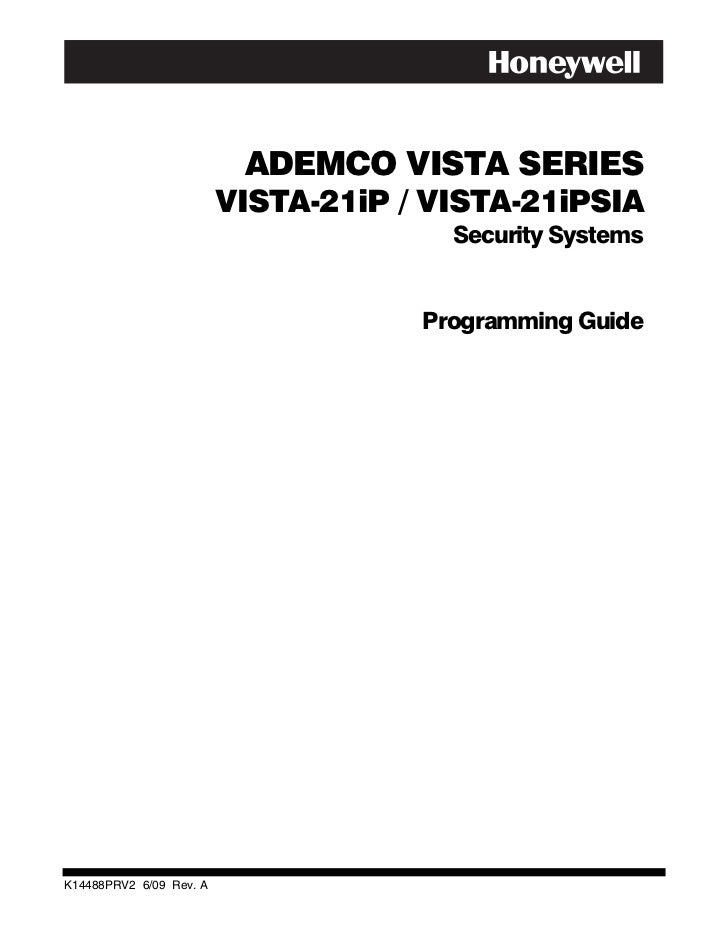 Honeywell Vista 21IP Programming Guide
