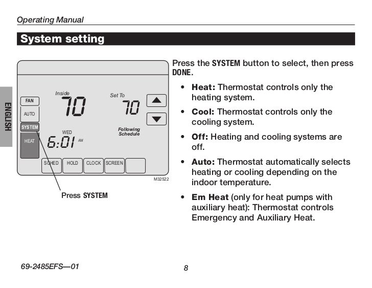 honeywell thermostat manual set hold run