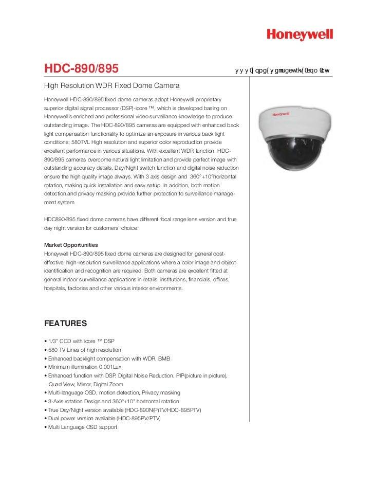 HDC-890/895                                                                               www.honeywellsecurity.com.auHigh...