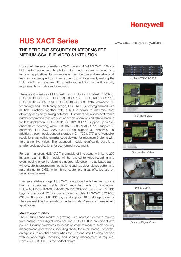 HUS XACT Series                                                              www.asia.security.honeywell.comTHE EFFICIENT ...