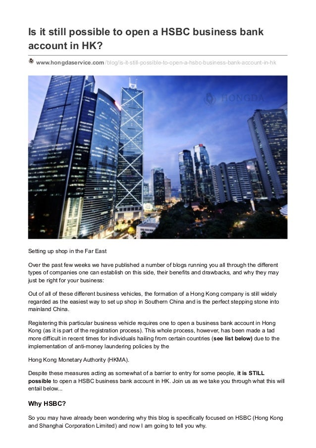 Is it still possible to open a HSBC business bank account in HK?