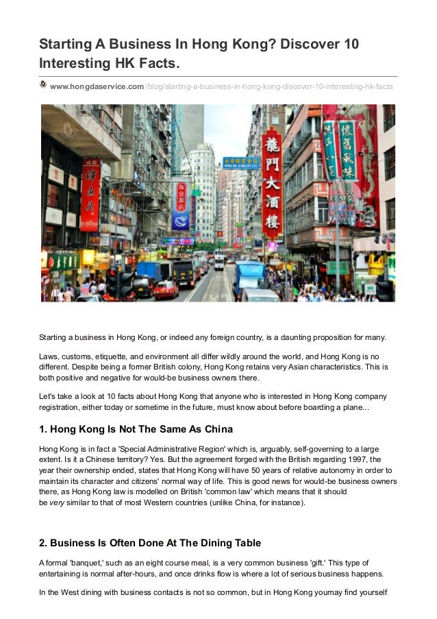 Starting A Business In Hong Kong? Discover 10 Interesting HK Facts. www.hongdaservice.com /blog/starting-a-business-in-hon...