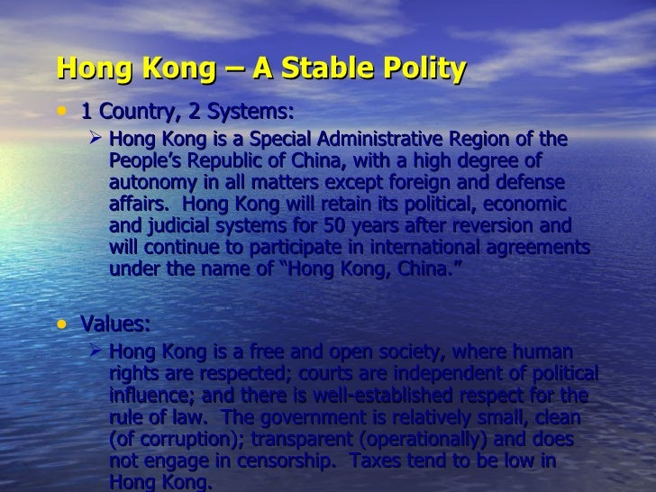 the terms of the agreement making hong kong a special administrative region Standard forms of contract in use 88 in the hong kong special administrative region (standard form of long-term service purchase agreement of usually 15 to 30 years for the design, construction, maintenance and operation of the facility.