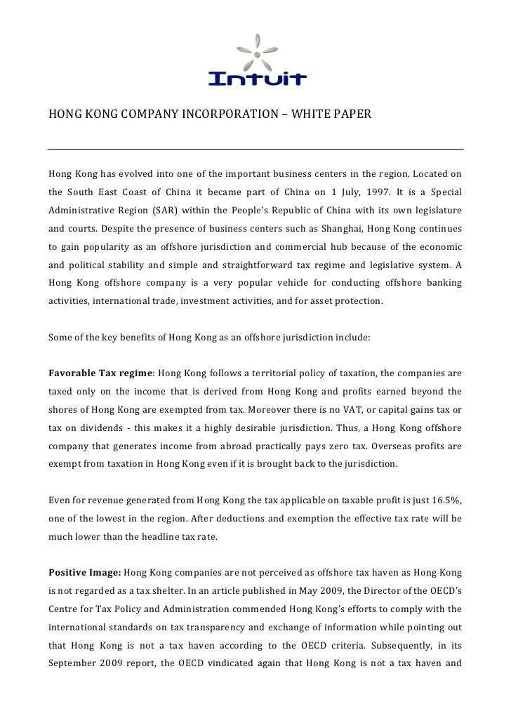 HONG KONG COMPANY INCORPORATION – WHITE PAPER   Hong Kong has evolved into one of the im...
