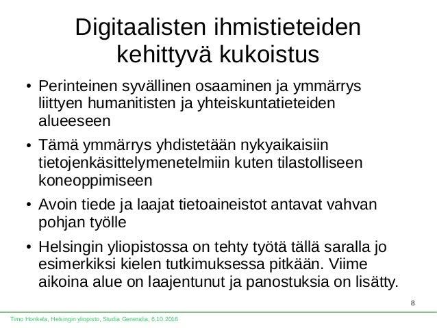 Timo Honkela: Kylmä data kohtaa inhimillisen tulkinnan, Studia Genera…