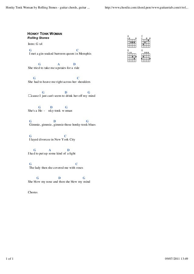 Honky tonk woman by rolling stones guitar chords, guitar tabs and l…