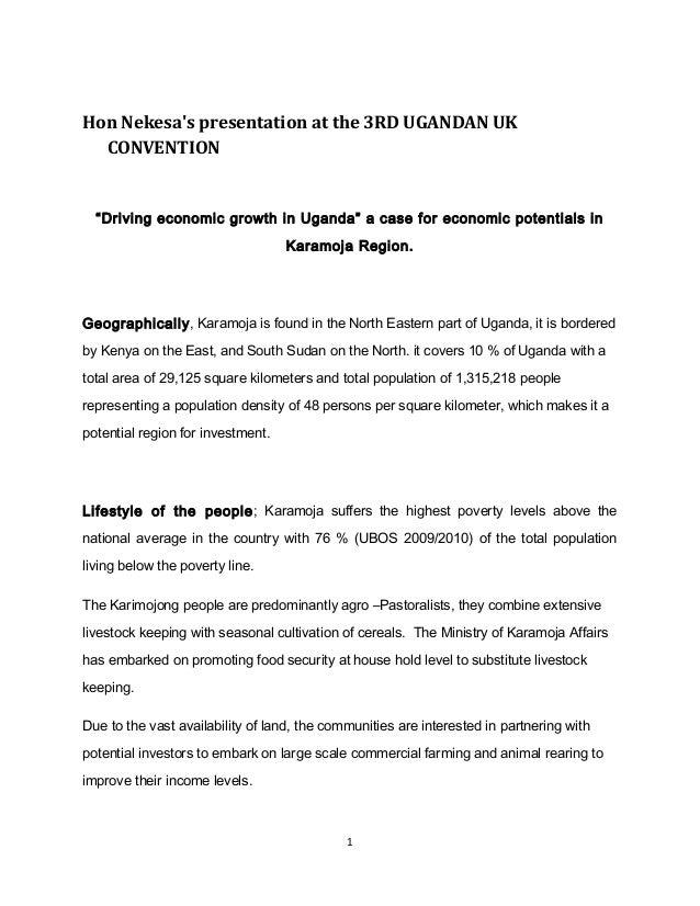 "Hon Nekesa's presentation at the 3RD UGANDAN UK CONVENTION  ""Driving economic growth in Uganda"" a case for economic potent..."