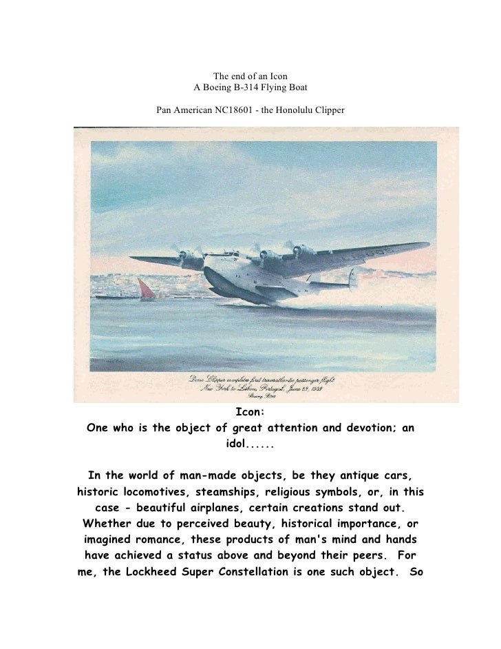 The end of an Icon                       A Boeing B-314 Flying Boat                Pan American NC18601 - the Honolulu Cli...